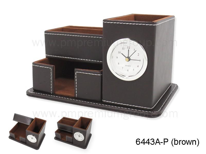 นาฬิกากล่องหนังตั้งโต๊ะ 6443A-R