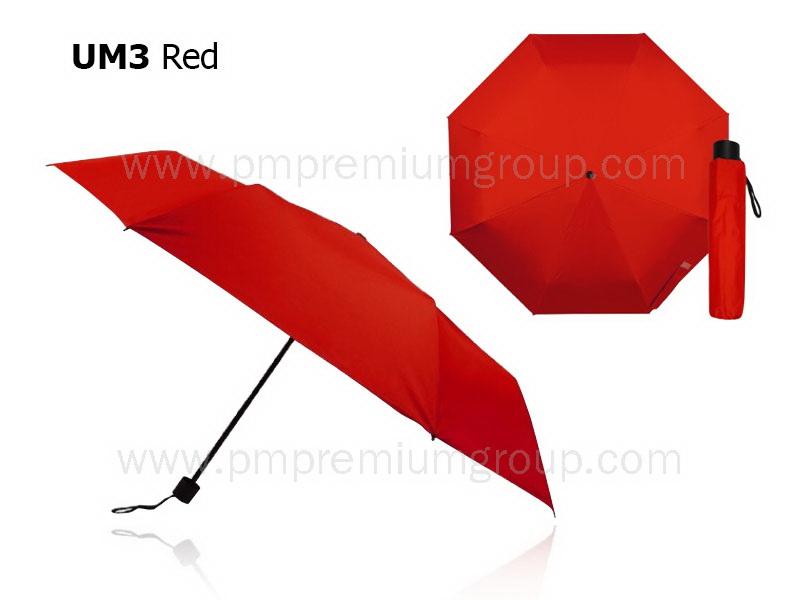 ร่มพับ3ตอนสีแดง