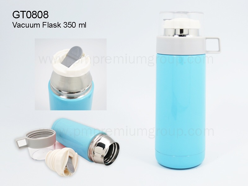 กระติกน้ำสเตนเลสสุญญากาศสีฟ้าGT0808